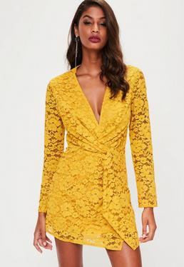 Yellow Plunge Lace Twist Front Dress