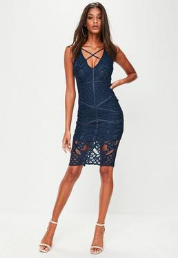 Navy Cross Front Midi Dress