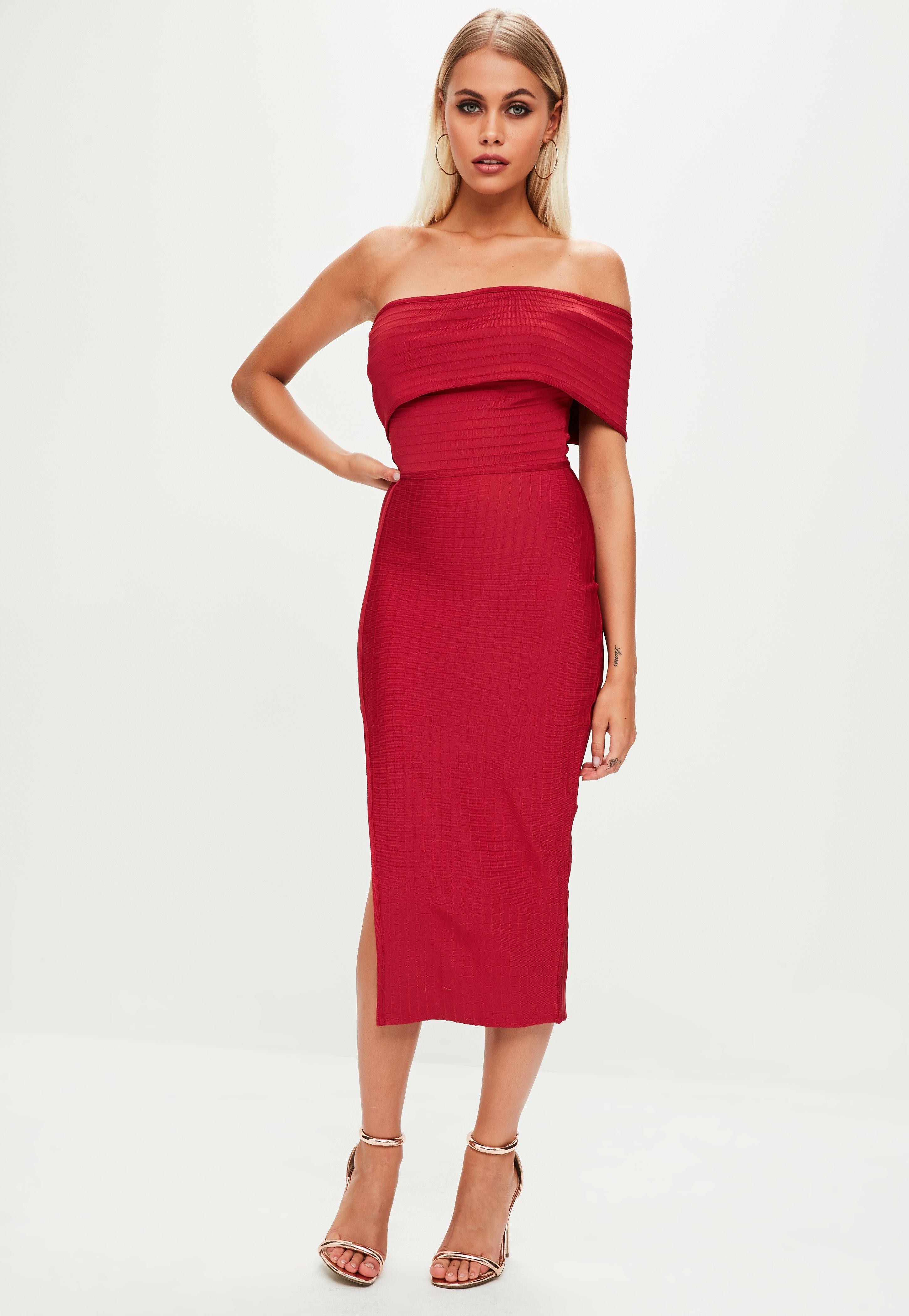 red bandage one shoulder split midi dress missguided