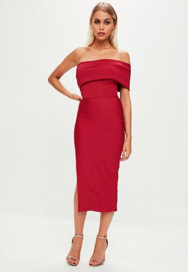 red bandage one shoulder split midi dress missguided