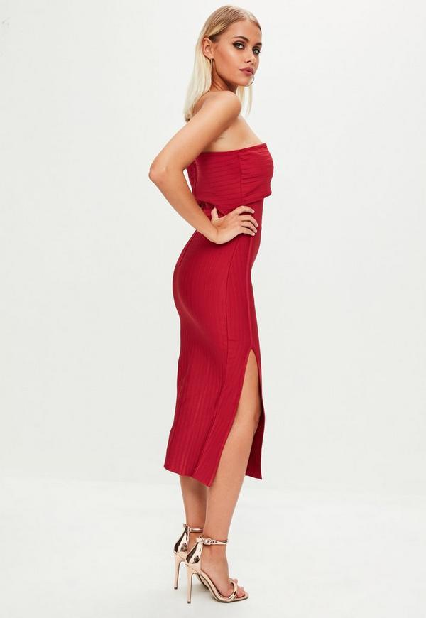 aee720d3c66a Red Bandage One Shoulder Split Midi Dress. Previous Next