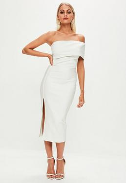 White Bandage One Shoulder Split Midi Dress