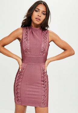 Premium Pink Bandage Multi Eyelet Lace Up Bodycon Dress