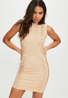 Premium Nude Bandage Multi Eyelet Lace Up Bodycon Dress