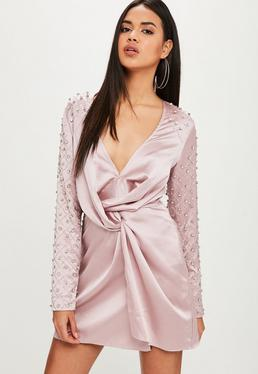 Mauve Diamante Sleeve Shift Dress
