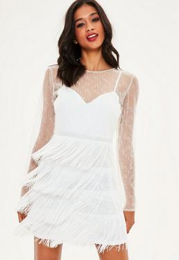 White Beaded Fringe Trim High Neck Bodycon Dress