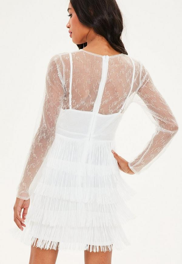 White Beaded Fringe Trim High Neck Bodycon Dress   Missguided Ireland