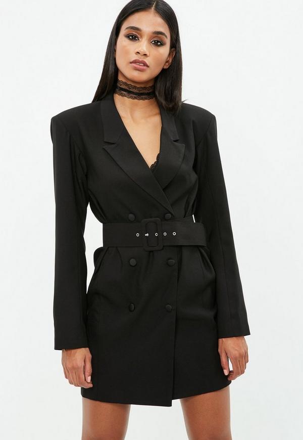 Black Crepe Belted Button Blazer Dress Missguided
