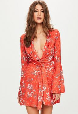 Orange Print Flared Twist Front Dress