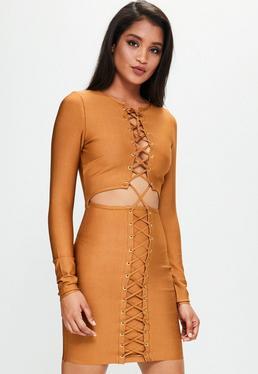 Orange Bandage Lace Up Eyelet Cut Out Dress