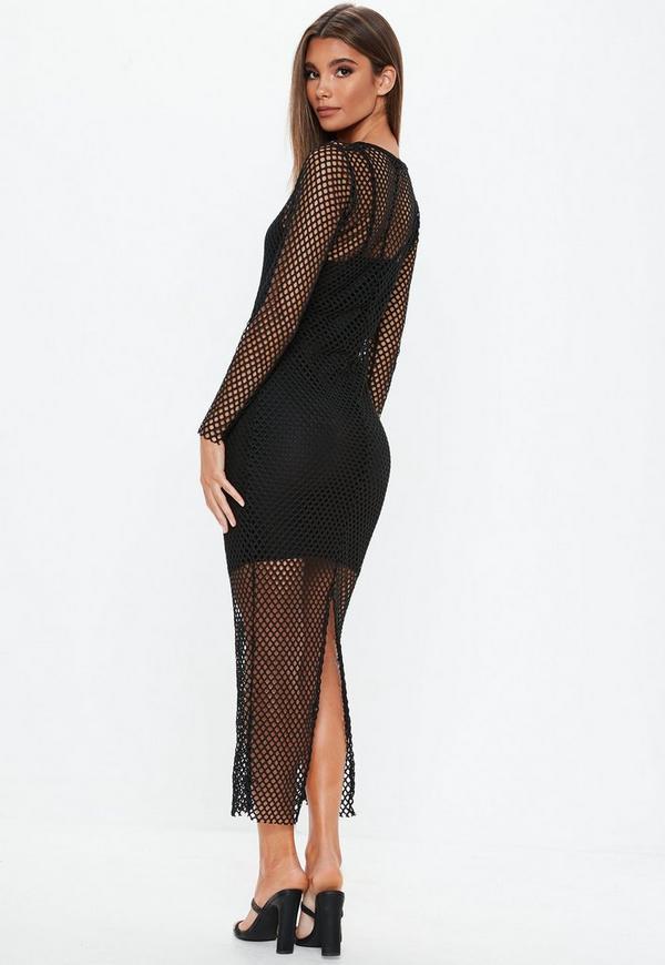 Black Fishnet Split Maxi Dress Missguided
