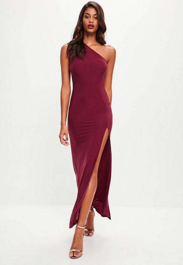 Burgundy Slinky One Shoulder Dress   Missguided