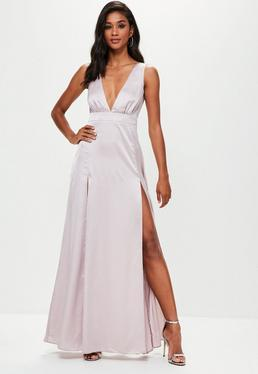 Grey Plunge Double Split Front Satin Maxi Dress