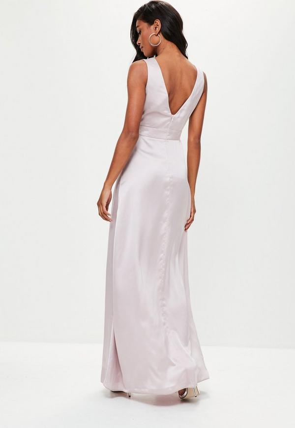 Grey Plunge Double Split Front Satin Maxi Dress. Previous Next 7fd911d24