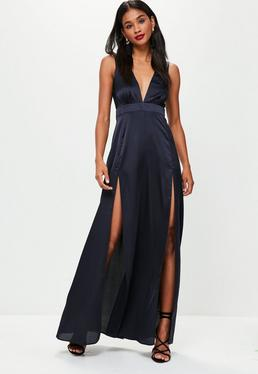 Navy Plunge Double Split Front Satin Maxi Dress