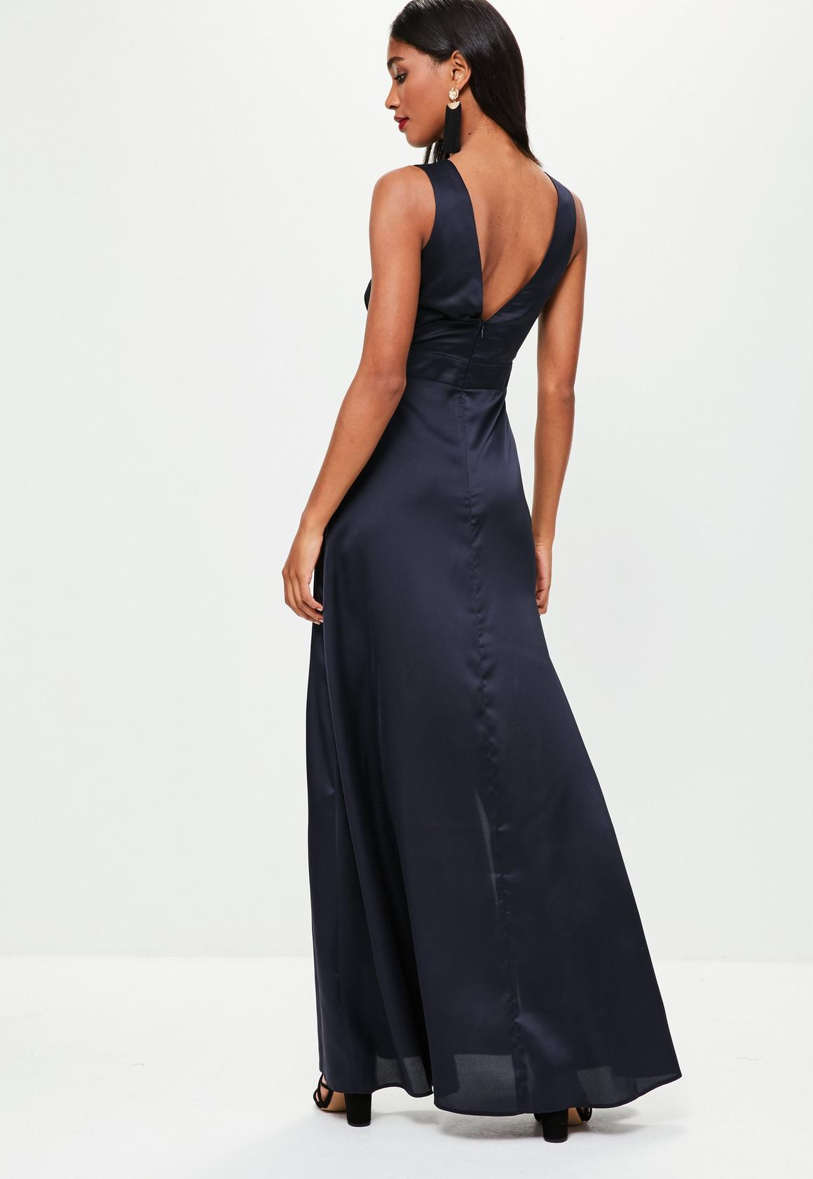 Missguided - Navy Plunge Double Split Front Satin Maxi Dress 28c45f732