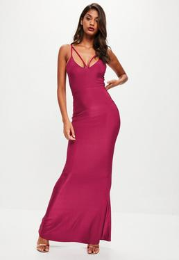 Pink Strappy Bustcup Fishtail Maxi Dress
