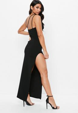 Black Multi Strap Plunge Maxi Dress