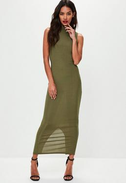 Khaki Metallic Ribbed High Neck Dress