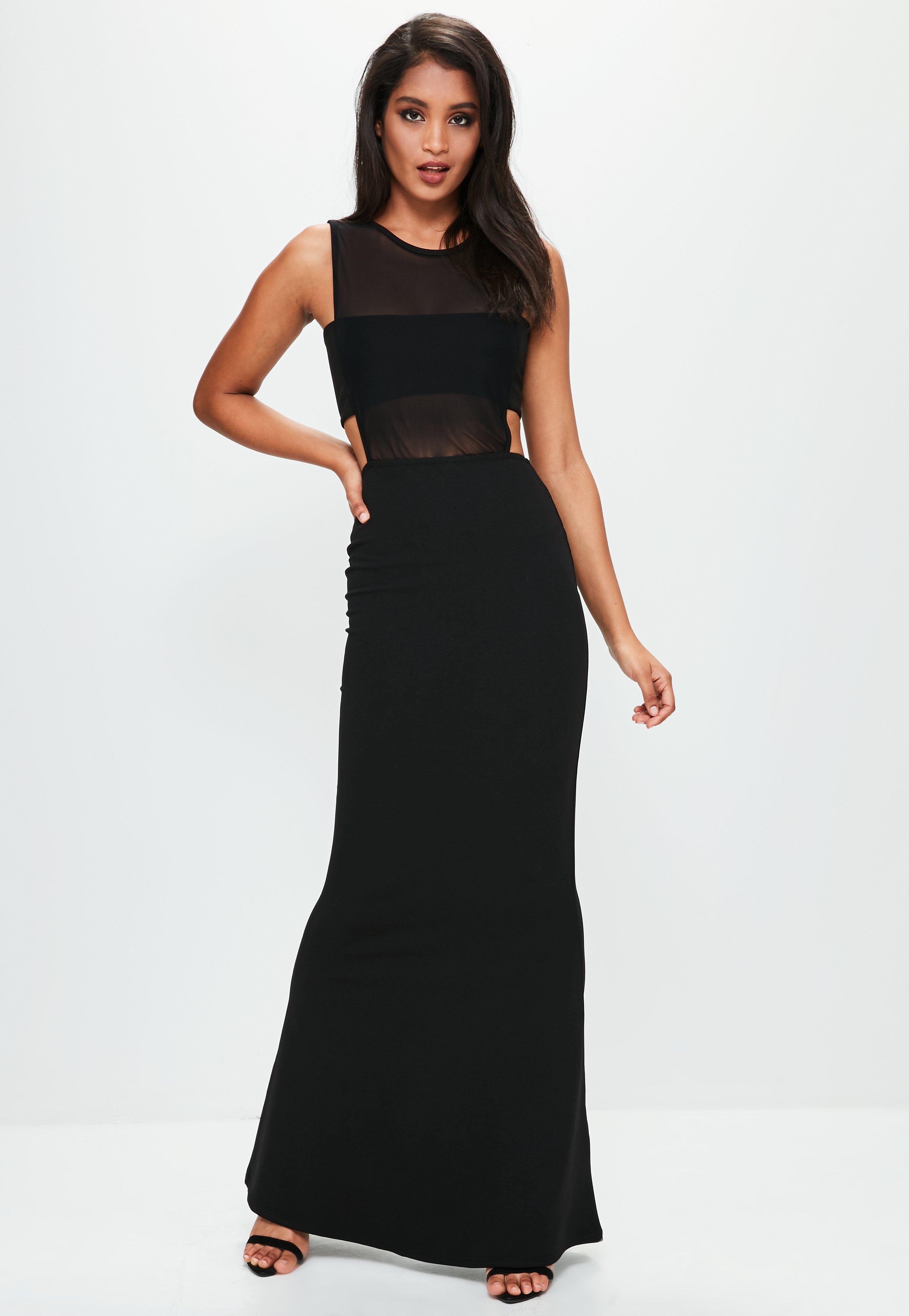 Cut out mesh dress black