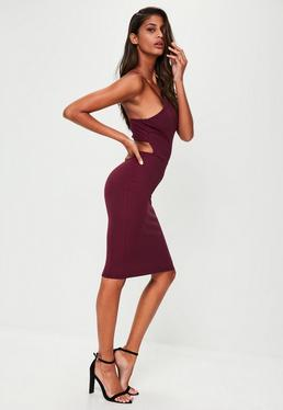 Burgundy Crepe Strappy Cut Out Midi Dress