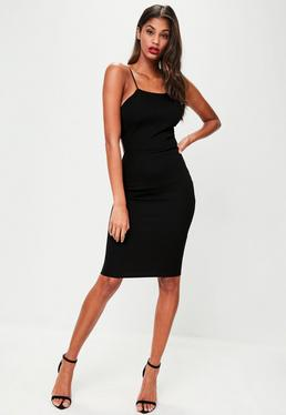 Black Crepe Strappy Cut Out Midi Dress