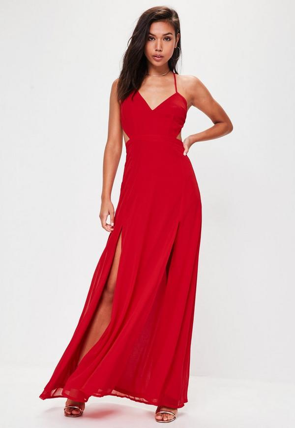Red Strappy Cut Out Dress Missguided