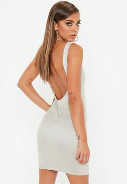 Nude Faux Suede Scoop Back Bodycon Dress
