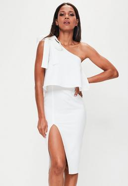 White Crepe One Shoulder Bow Sleeve Midi Dress