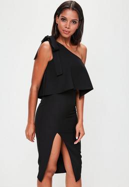 Black One Shoulder Midi Dress