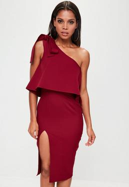 Red One Shoulder Midi Dress