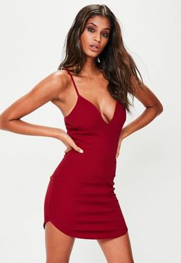 Red Strappy Plunge Mini Dress