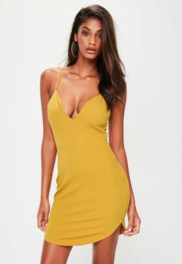 Yellow Strappy Plunge Mini Dress