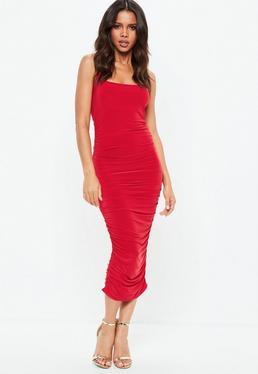 Red Slinky Gathered Side Midi Dress