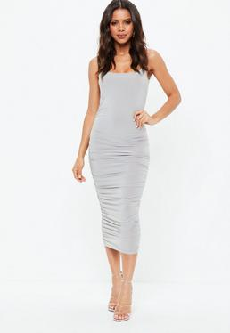 Grey Slinky Gathered Side Midi Dress