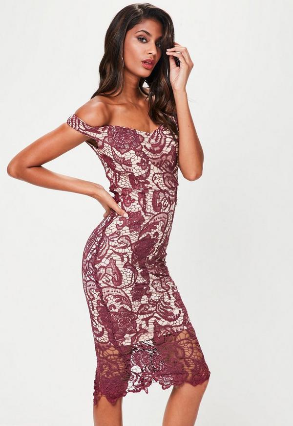 Purple Lace Bardot Mini Dress Missguided