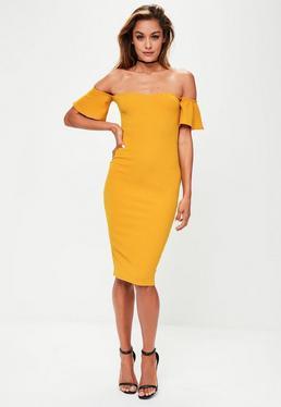 Yellow Bardot Bodycon Dress