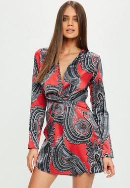 Red Satin Wrap Paisley Dress