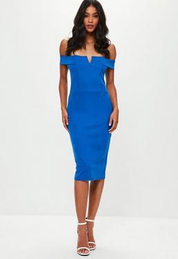 Blue V Front Bardot Midi Dress
