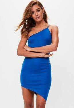 Blue One Shoulder Bodycon Dress