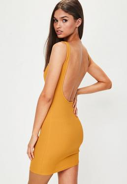 Yellow Scoop Back Ribbed Bodycon Dress