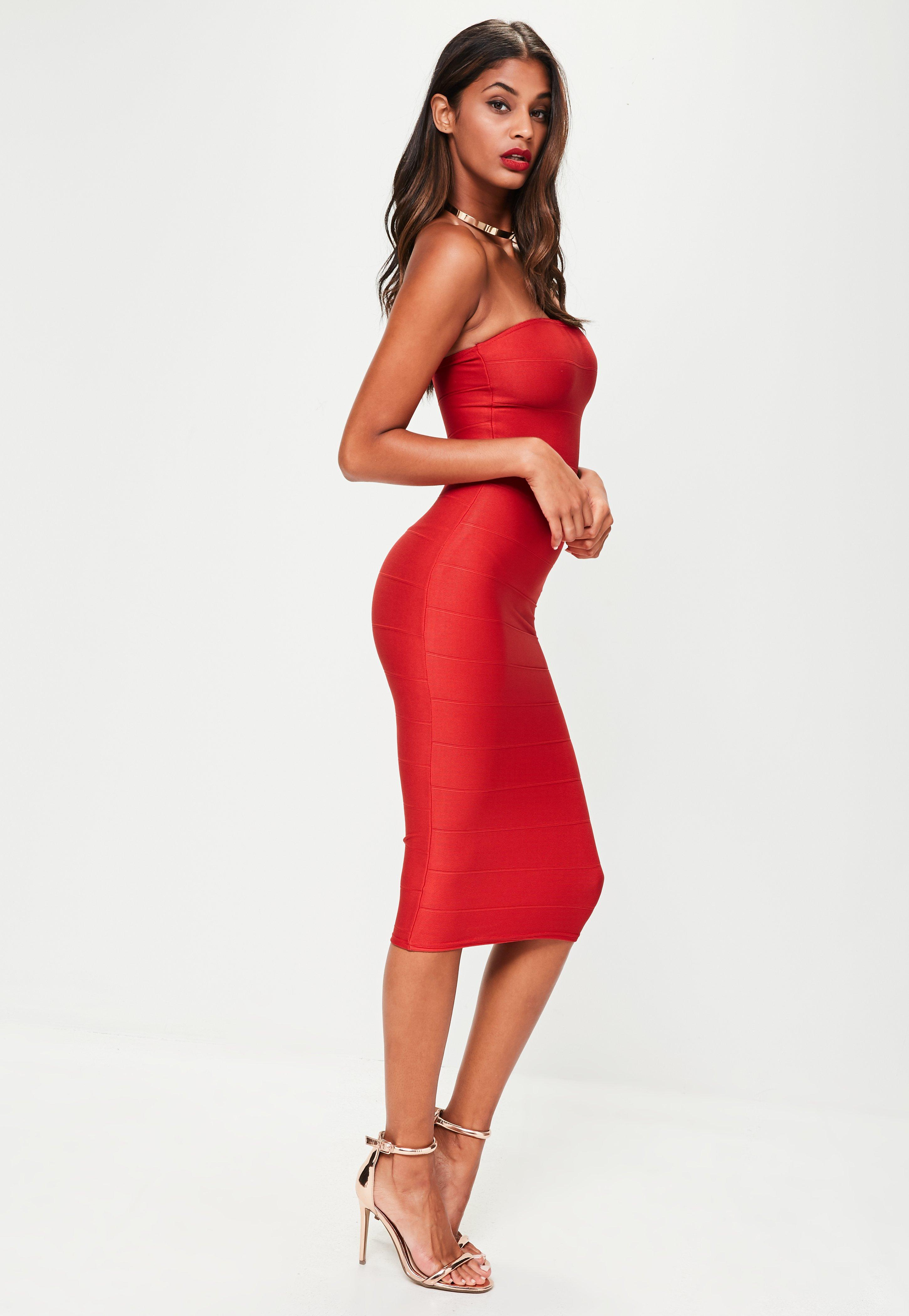 Supply Cheap Online Missguided Strapless Bandage Midi Dress Recommend Cheap Oz0hKvE
