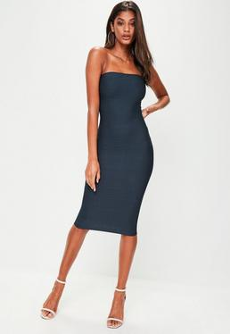 Navy Strapless Bodycon Midi Dress