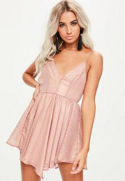 Pink Foiled Criss Cross Asymmetric Dress