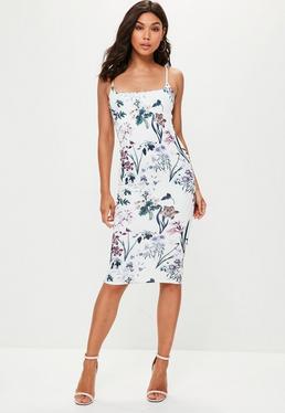 White Floral Print Scuba Dress
