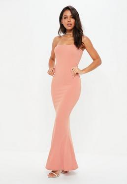 Vestido largo sin mangas de crepé en rosa