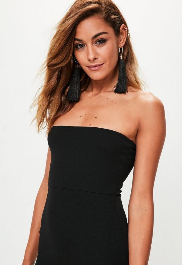 Black crepe maxi dress