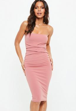 Pink Stretch Crepe Cross Front Bandeau Dress