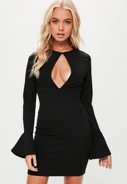 Black Plunge Frill Bodycon Dress