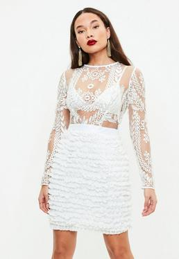 White Embroidered Ruffle Bodycon Dress